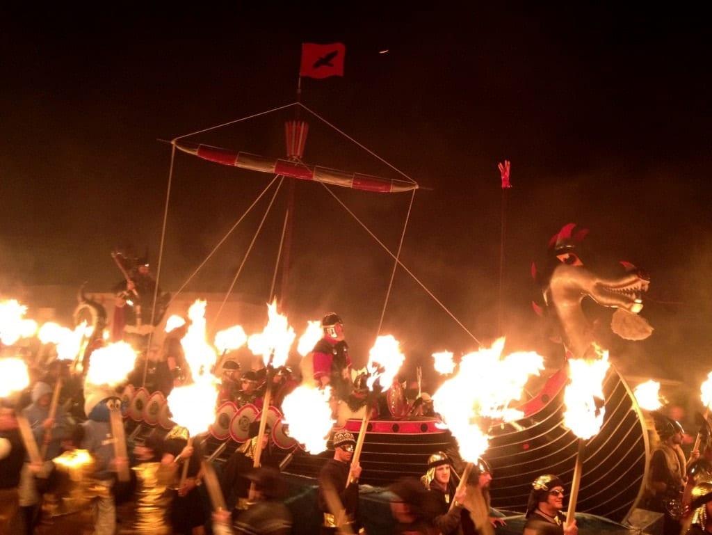 Fiery Viking boat at Up Helly Aa in Shetland