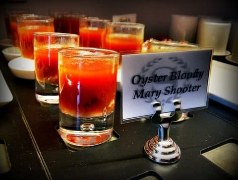 Oyster bloody mary shooters