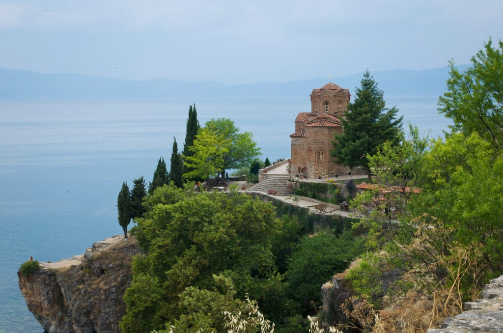 Sveti Jovan church perched on the edge of a cliff at Lake Ohrid
