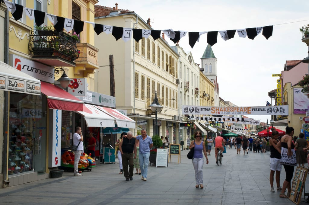 A cafe-lined street in Bitola, North Macedonia