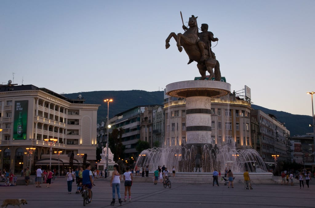 A giant Alexander the Great rearing horse statue in Skopje, North Macedonia