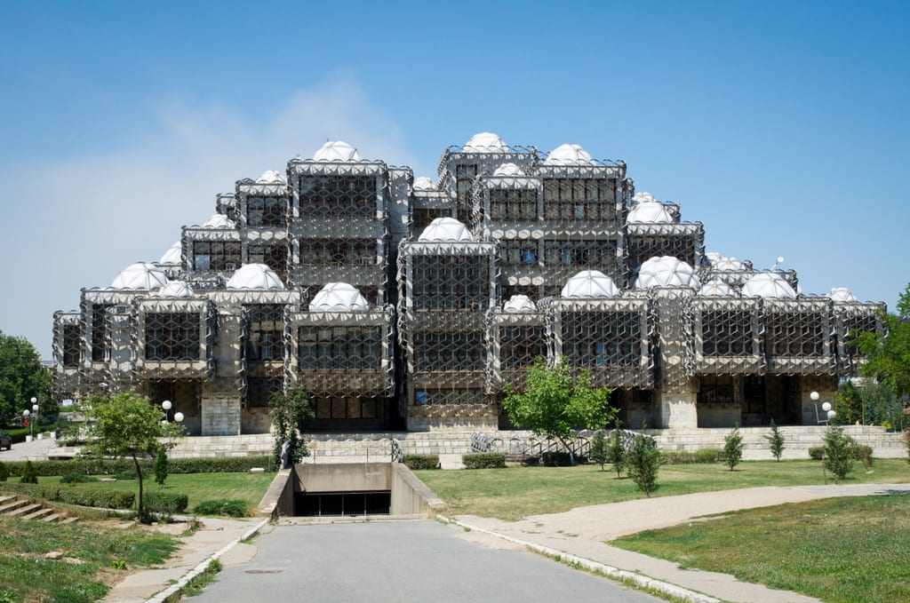 Prishtina's wacky, silver and white egg carton-evoking library