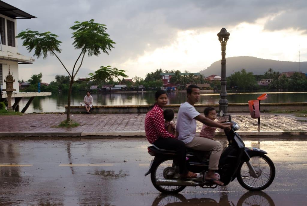 Family on a Motorbike in Kampot