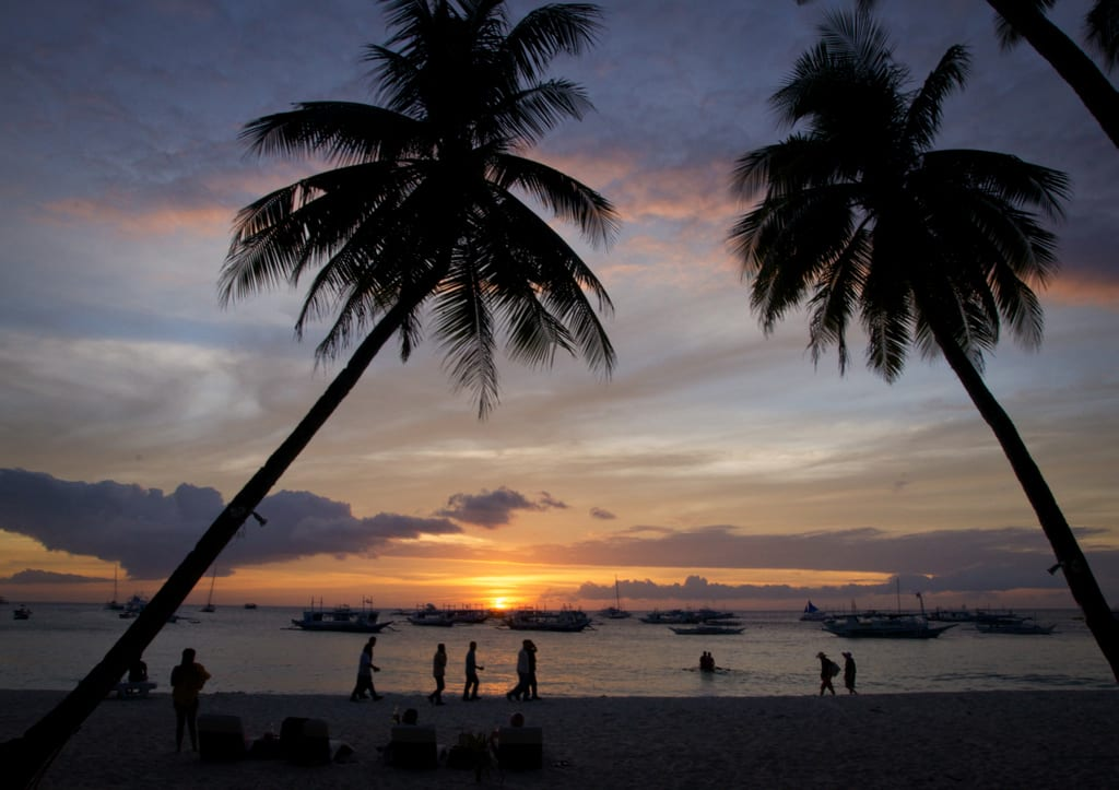 A blue and yellow sunset between two palm trees on the beach in Boracay, Philippines.