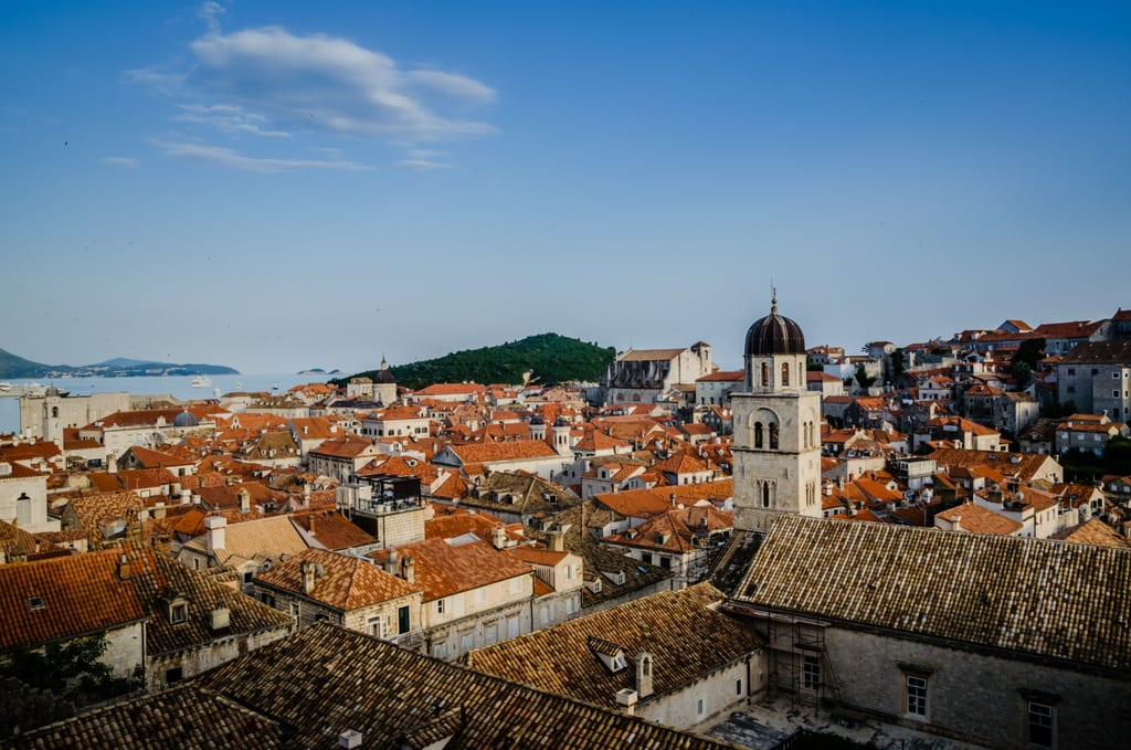 Dubrovnik's orange roofs underneath a blue sky