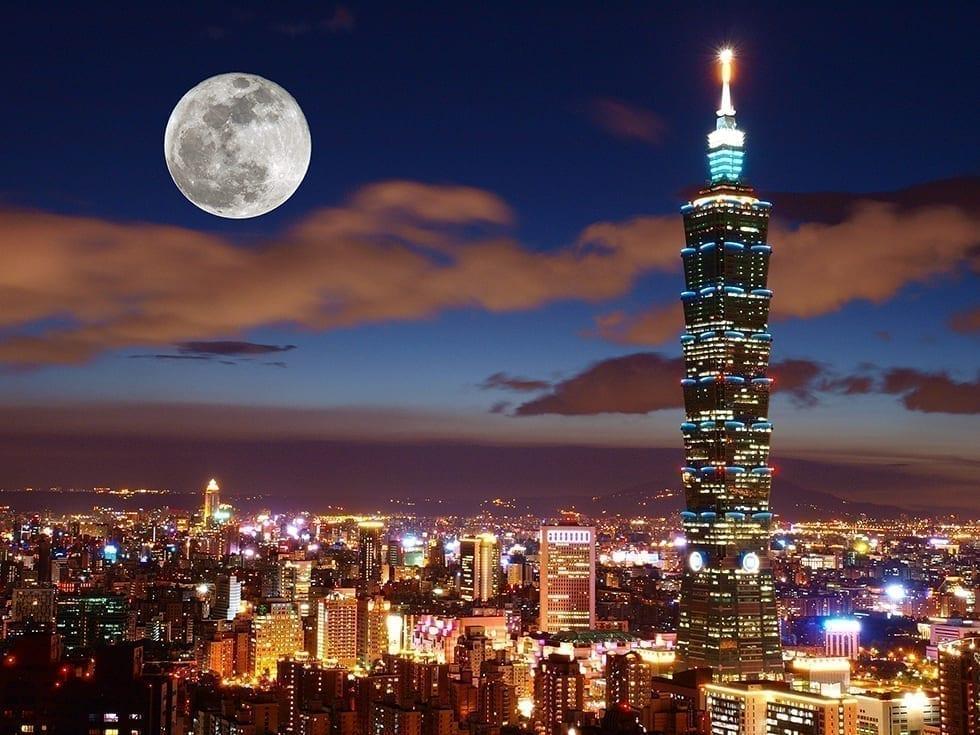 Super Moon and Taipei 101