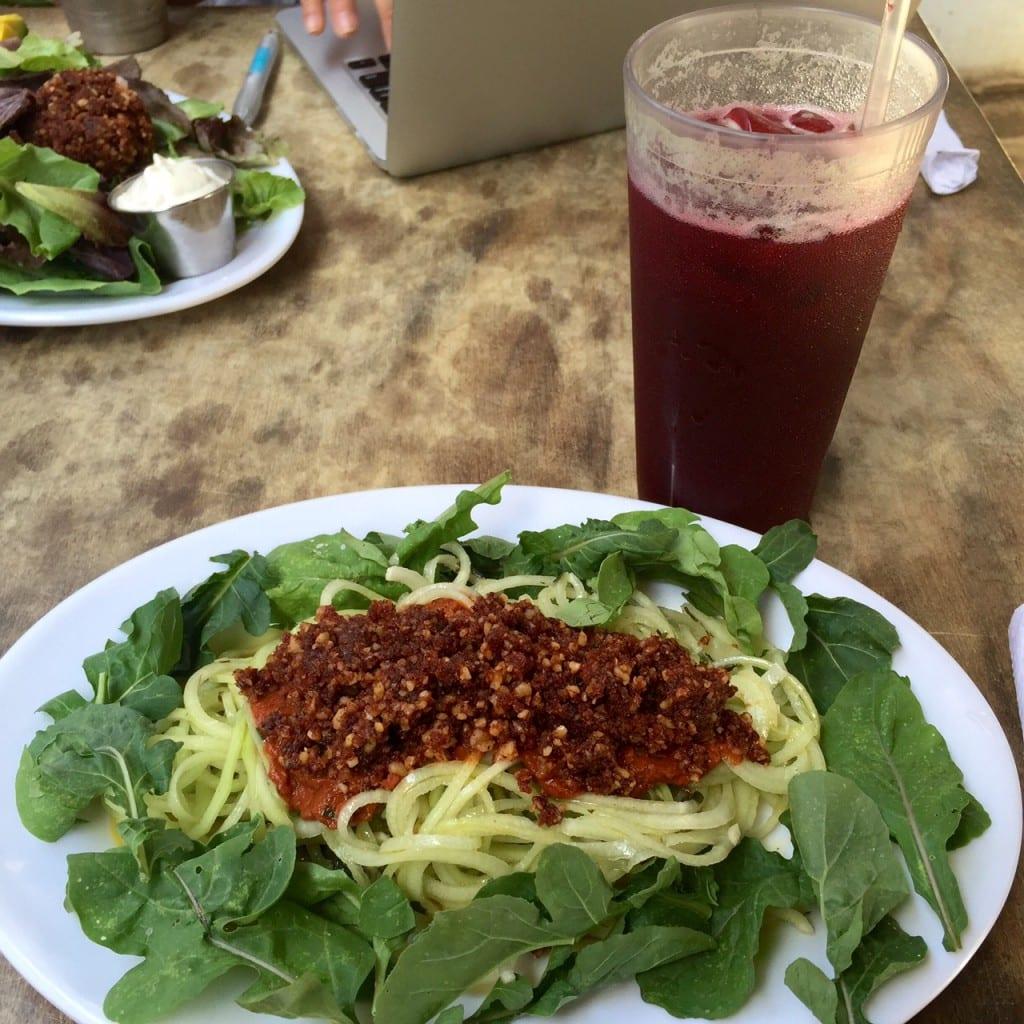 Buddha's Garden Rasta Pasta -- zucchini pasta with vegan rags