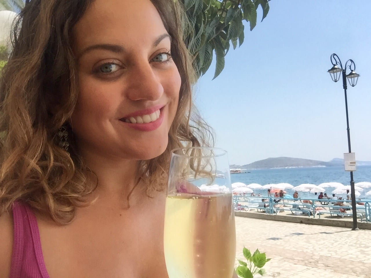 Kate with Prosecco in Saranda