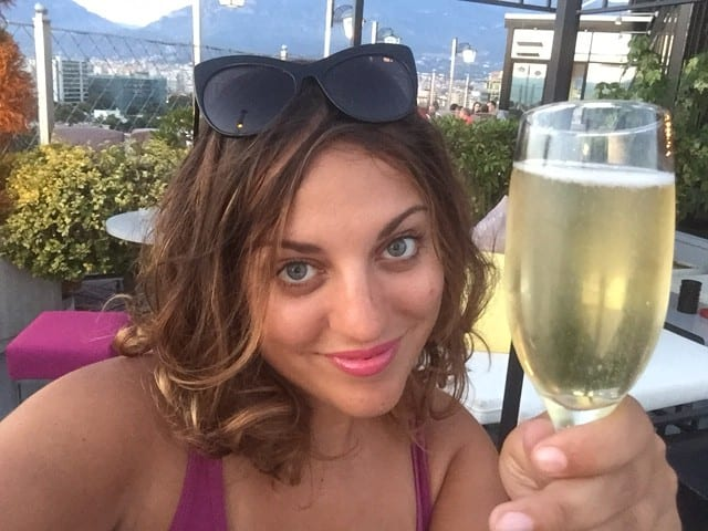 Kate with Prosecco in Tirana