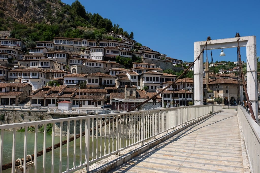 A bridge in front of the window-covered houses of Berat, Albania