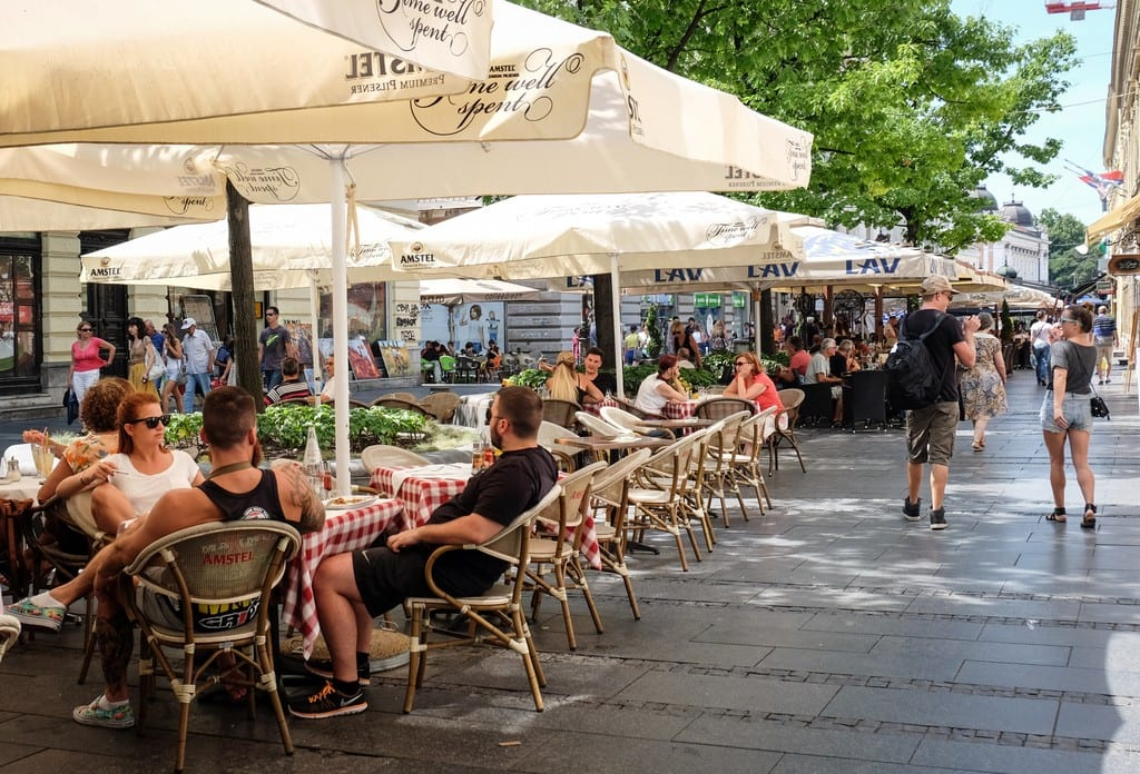 Cafes on the street in Belgrade