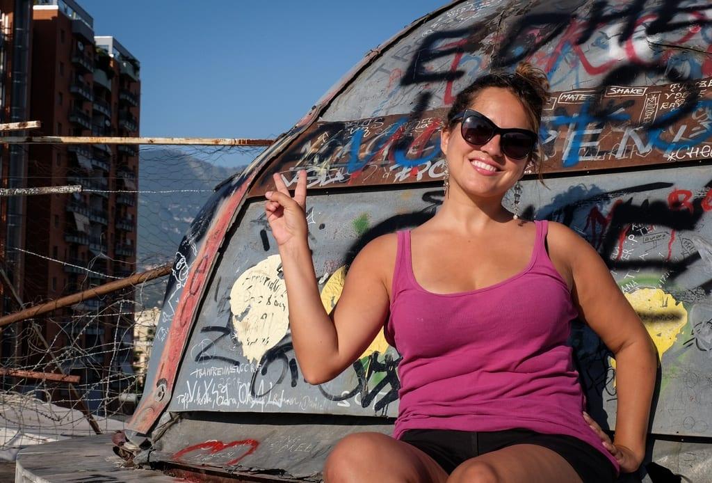 Kate at the Pyramid, Tirana Albania