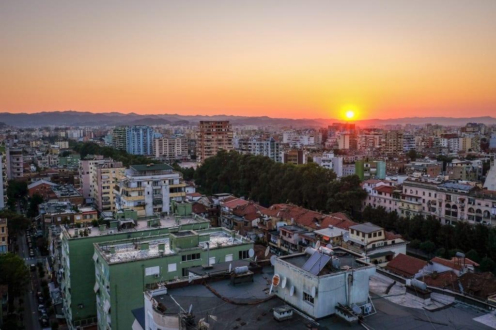 Tirana Albania Sunset