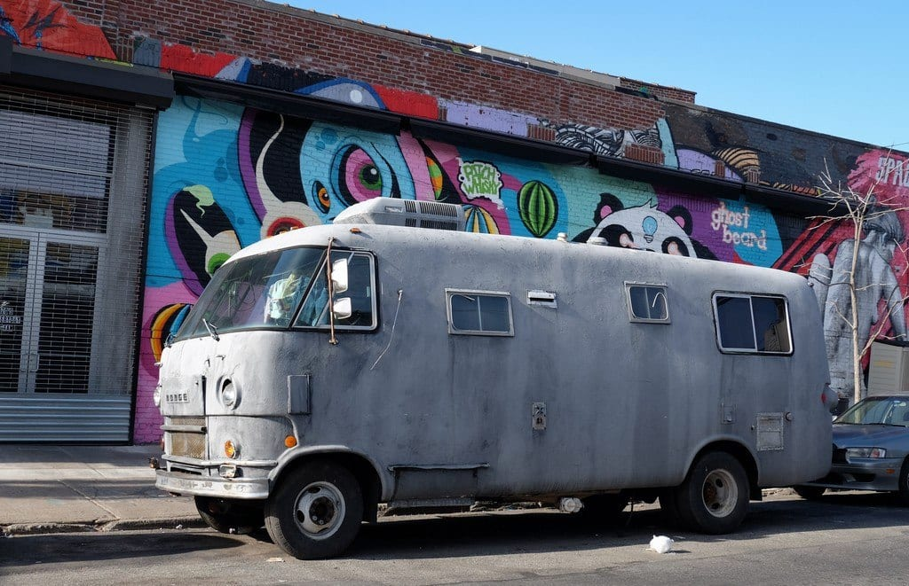 An unmarked gray van in Bushwick, Brooklyn