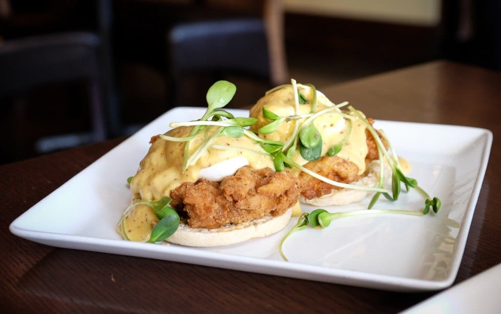 Fried Chicken Benedict at Pican