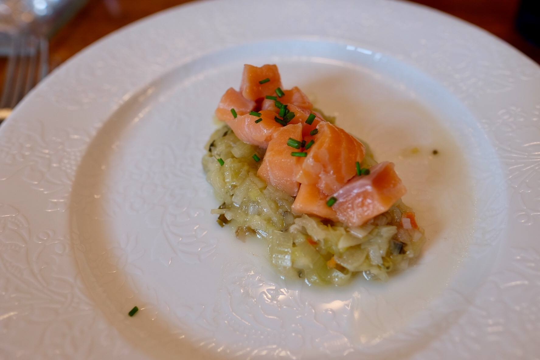 Smoked salmon and leeks
