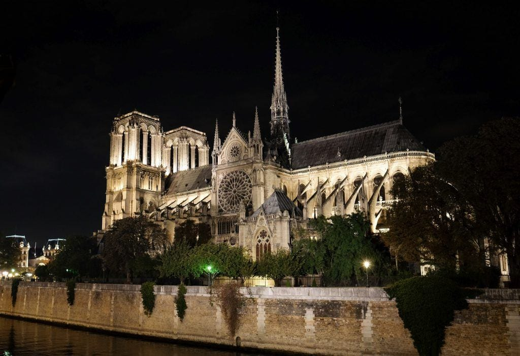 Notre-Dame at night.