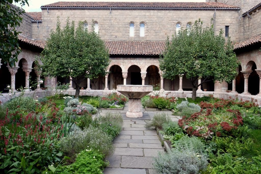 The medieval monastery of The Cloisters, with its garden courtyard.