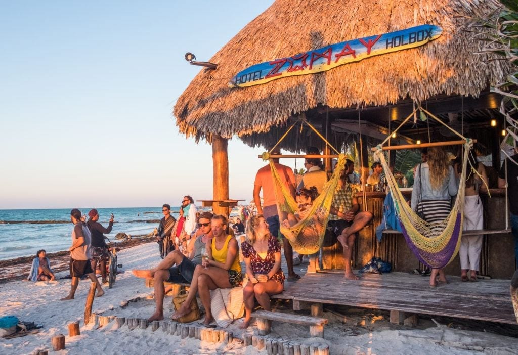 People getting ready to watch the sunset at Zomay bar on Holbox.