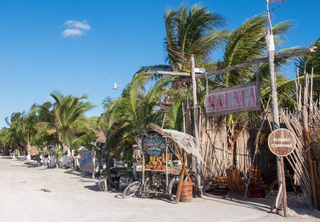 Ramshackle restaurants and bars on the beach at Isla Holbox.