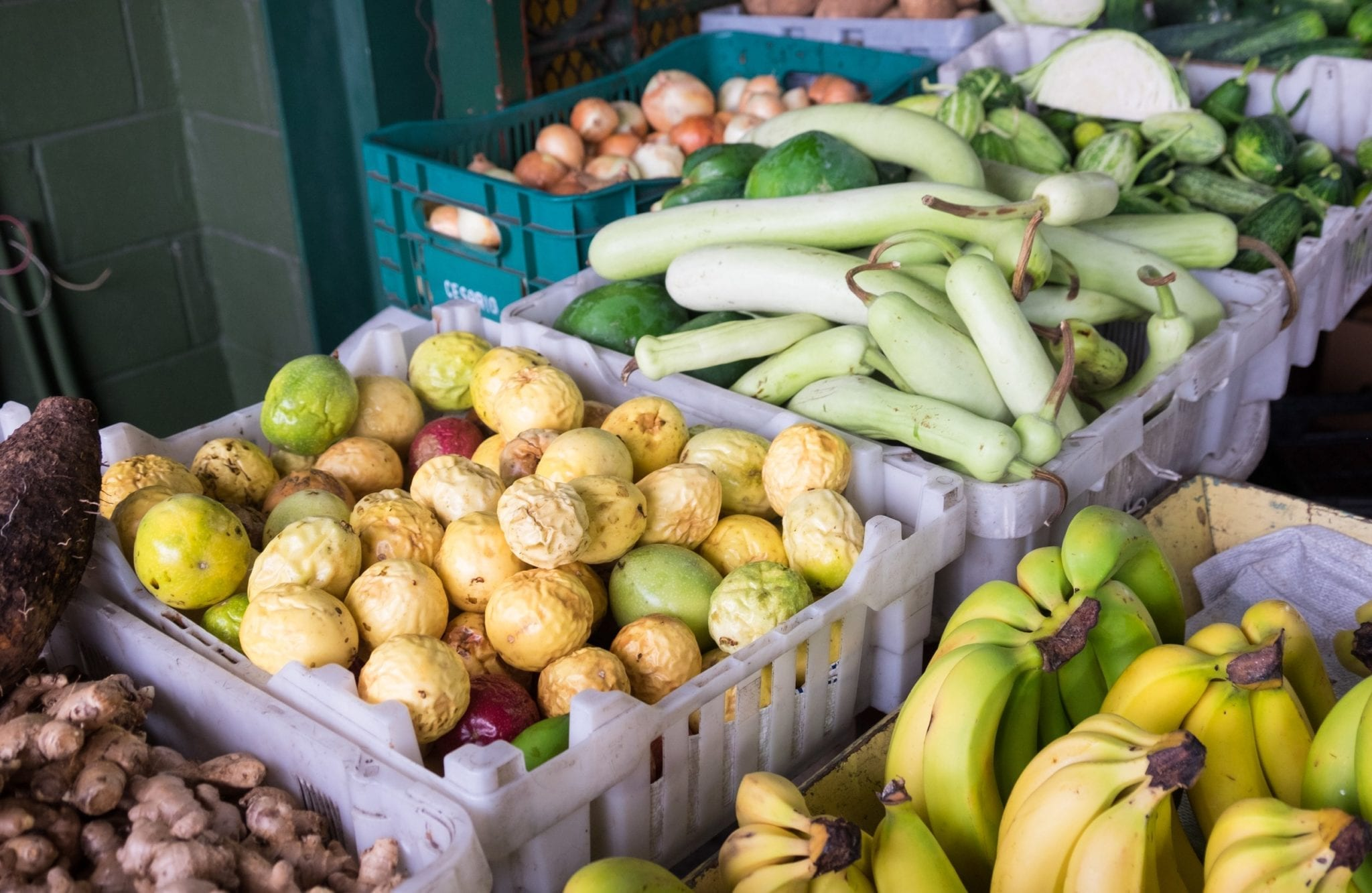 Fruits and vegetables piled up in purple crates in Antigua. Bananas, ginger, onions, and some unrecognizable green and yellow vegetables.