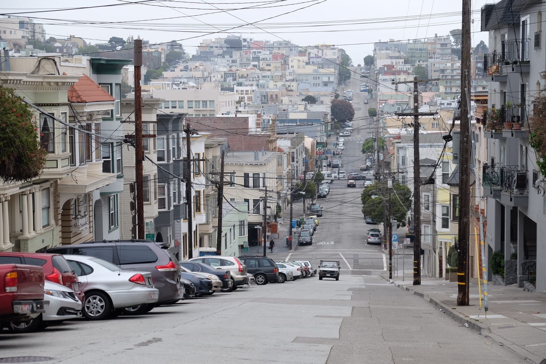 Gray morning in Russian hill, San Francisco, houses descending down steep hills in San Francisco.