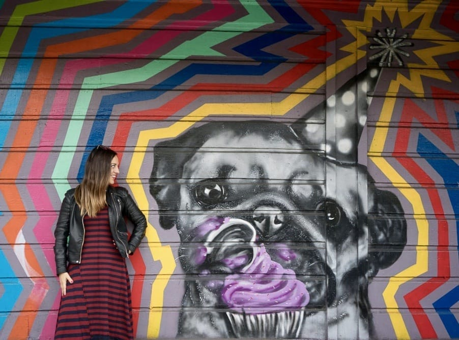 Kate wearing a blue-and-red-striped dress with a leather jacket in front of a mural with a pug wearing a tiny birthday hat and eating a purple frosted cupcake in San Francisco.