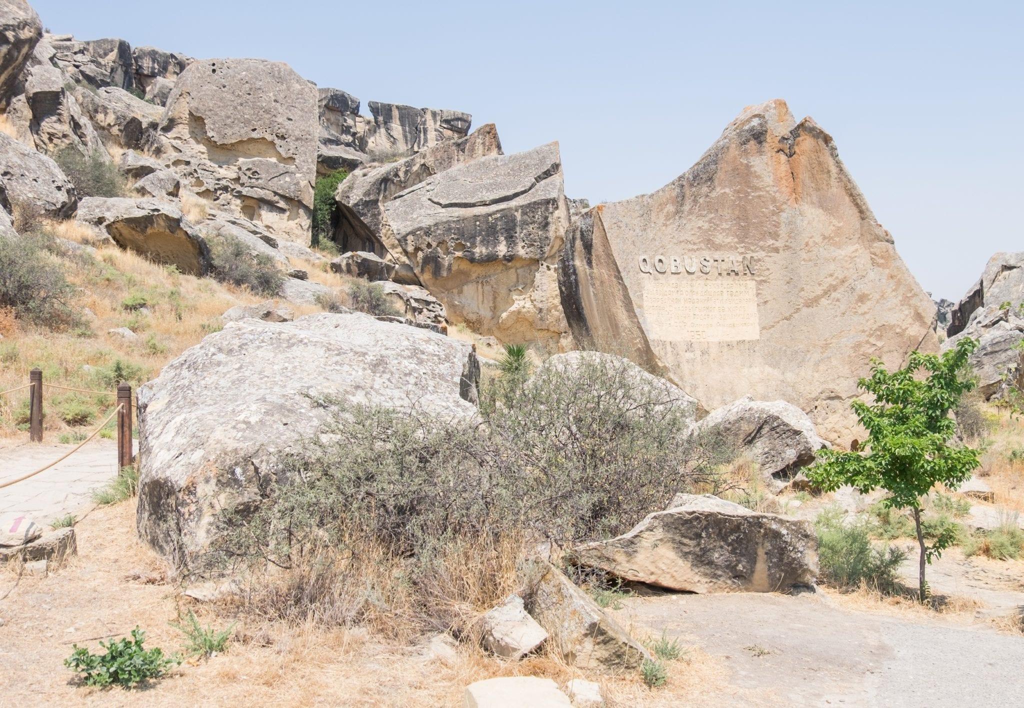 The rocky entrance to the Qobustan petroglyphs.