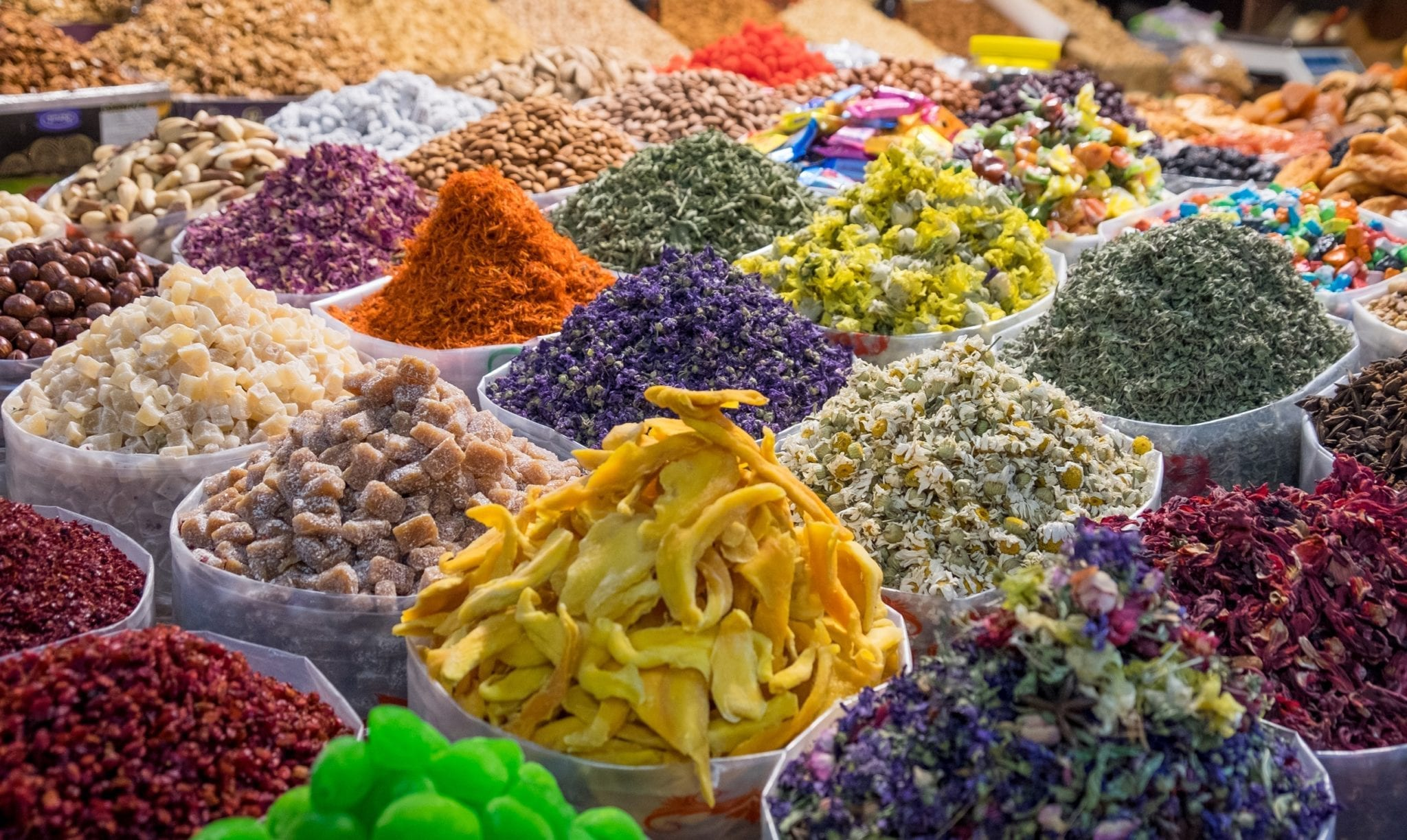 Piles of spices and dried fruits in perfectly conical piles in Baku, Azerbaijan.