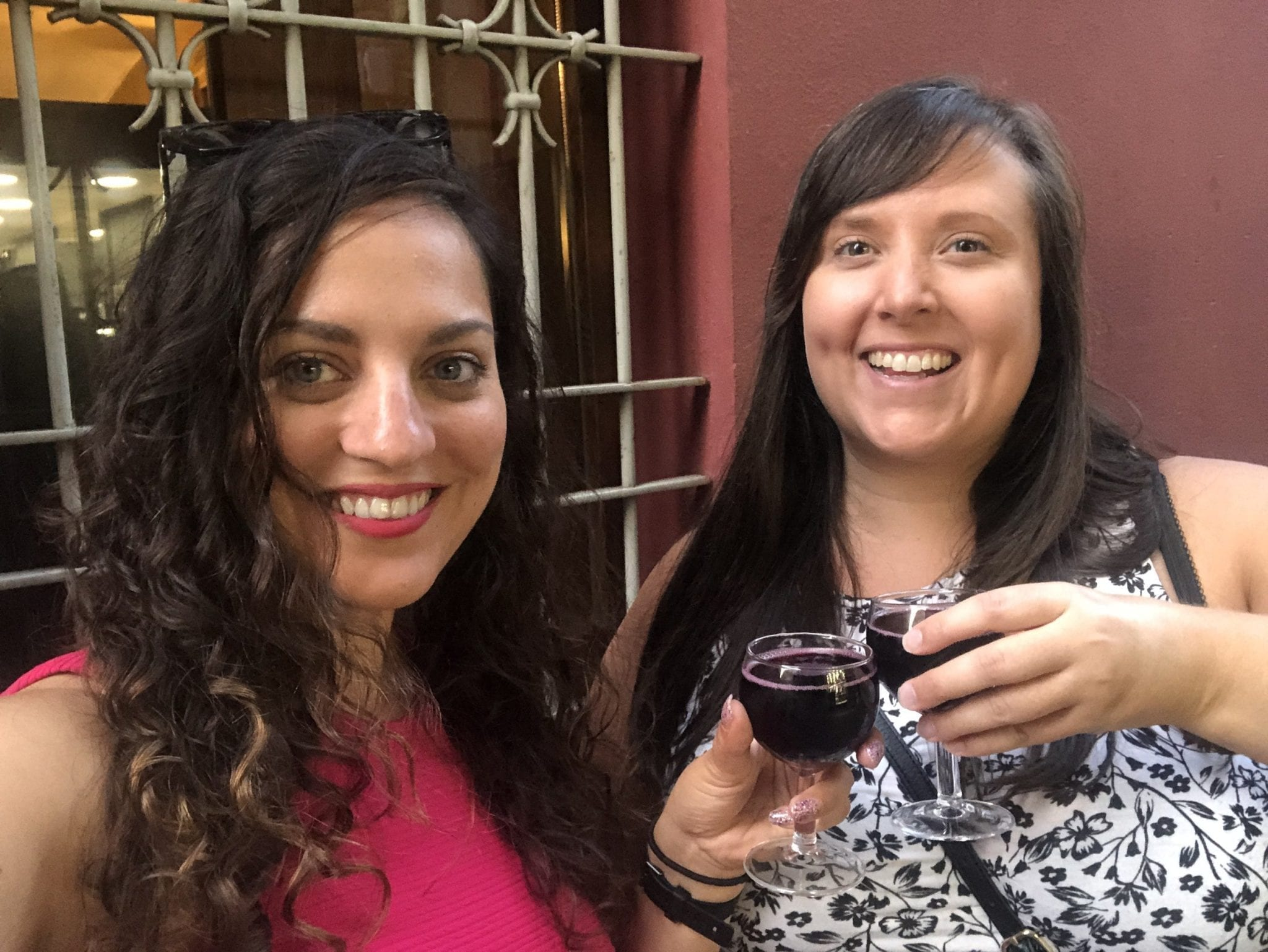Kate and Cailin take a smiling selfie while toasting small glasses of red lambrusco wine.