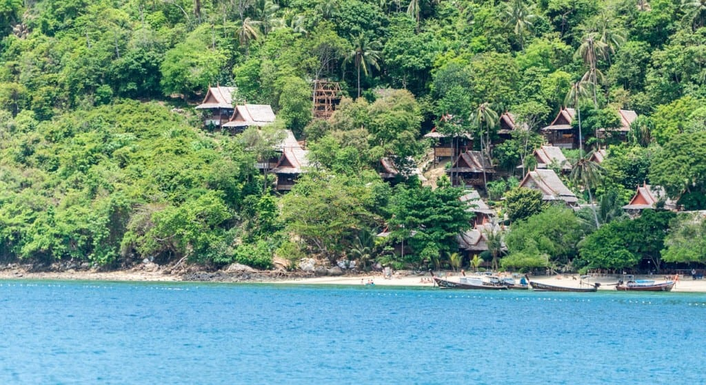Bungalows hidden in the trees offshore at Koh Phi Phi