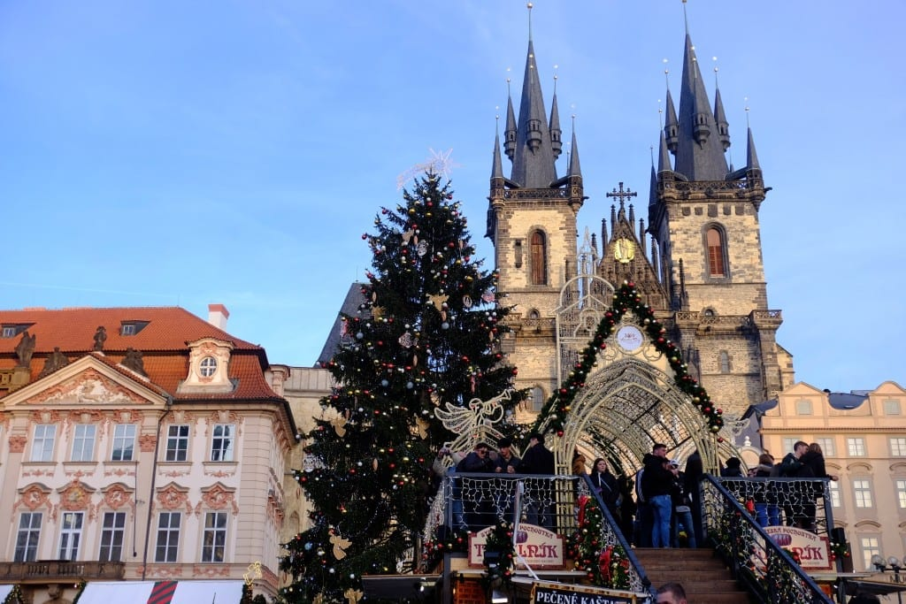 A Christmas tree in front of the cathedral in old town square, Prague.