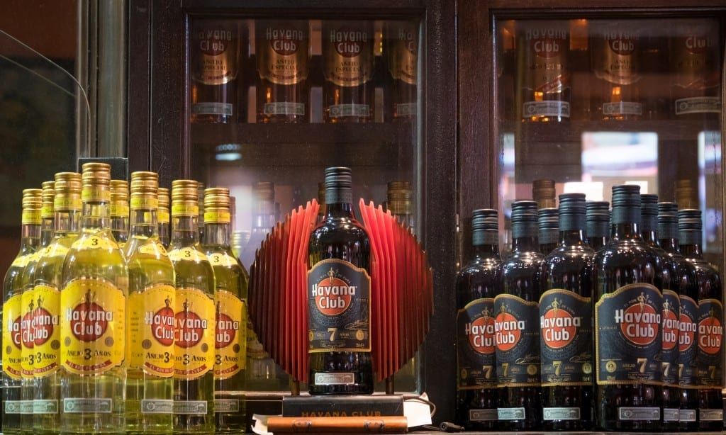 Rows of different Havana Club rum bottles