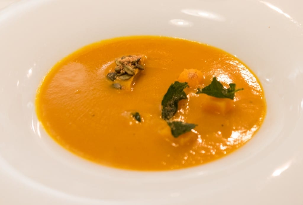 Bright orange pumpkin soup