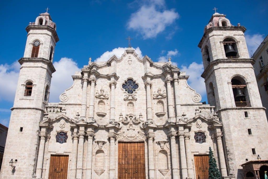 A church in Old Havana, set against a blue sky.