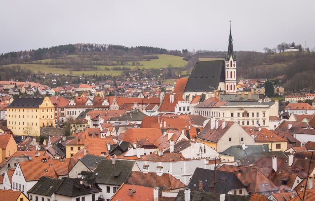 Skyline view of Cesky Krumlov with the church.