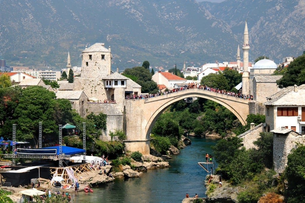 The bridge and skyline in Mostar, Bosnia