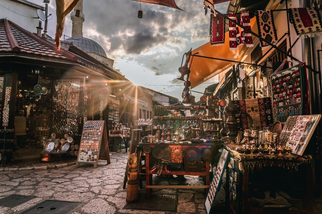 A market in Sarajevo at sunset