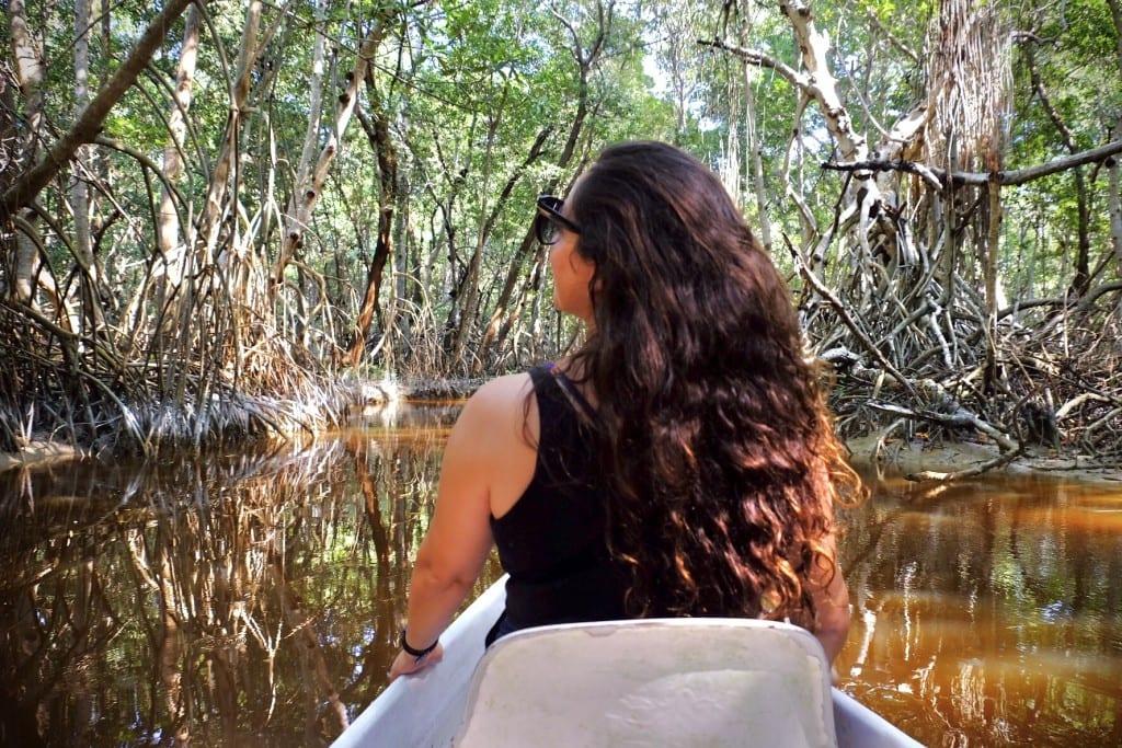 Kate on a boat in Celestun, exploring the mangroves.