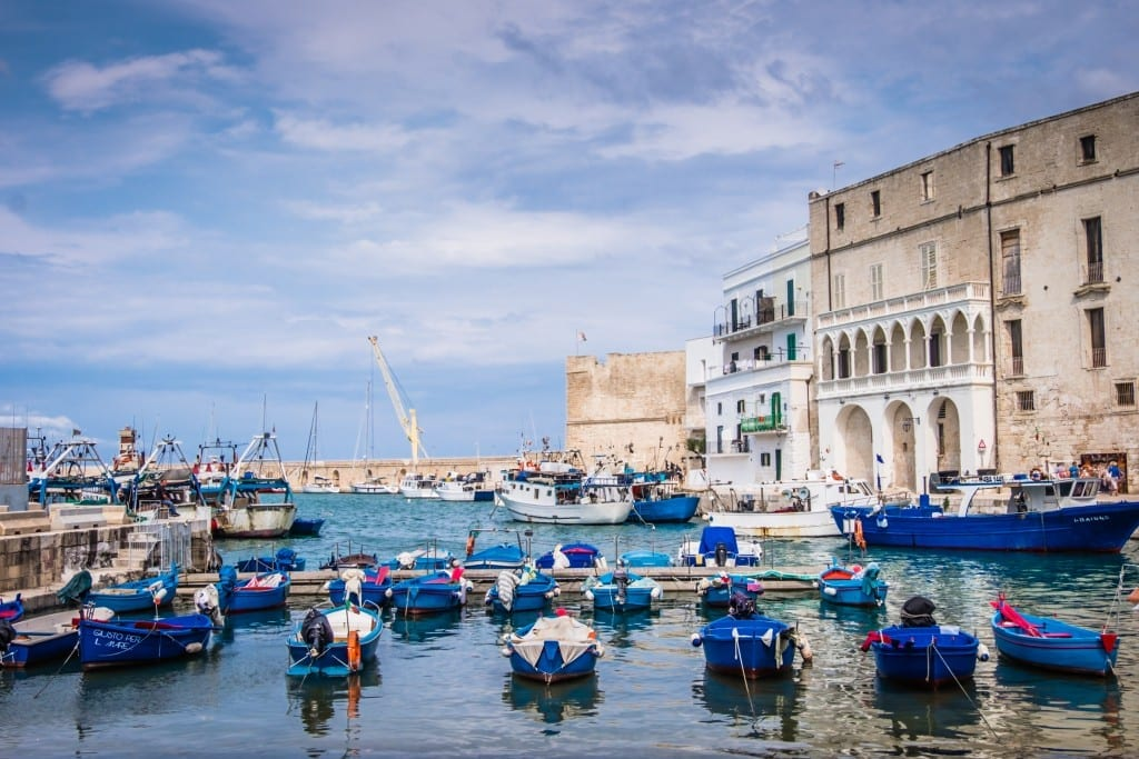 Blue boats in a small harbor with white buildings on one side in Monopoli, Italy.