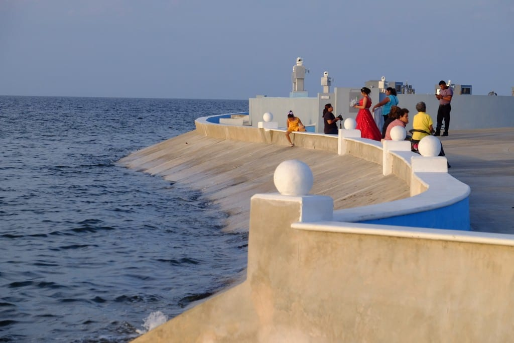 The malecon in Campeche, a walkway along the edge of the sea.