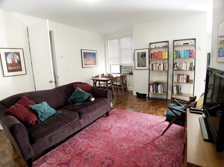 Kate's New York Living Room: a bright pink Persian rug, dark purple couch with maroon and teal cushions, and bookshelves in the background with a rainbow of books on top.